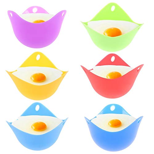 Peerless Egg Poacher Silicone Egg Poaching Cups with Ring Standers, Kitchen Cooking Cookware Tools BPA Free, Pack of 6
