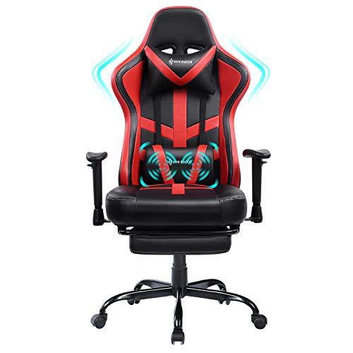 VON RACER Massage Gaming Stuhl mit Fußstütze - Racing Computer Schreibtisch Büro Drehbarer Arbeitsstuhl Ergonomischer Executive Ledersessel mit Kopfstütze Lordosenstütze Verstellbare Armlehnen (Red)