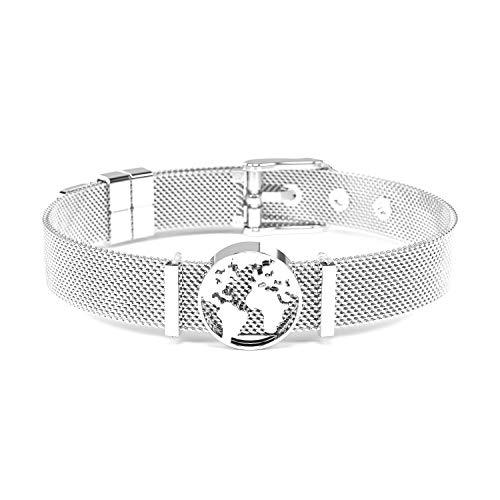 THIORA® - Mesh Armband mit Charms | Anhänger Austauschbar | Rosegold Gold Silber | Geschenk | Weltkarte Worldmap Erde Globus | Charmband Frauen | Classic Line (One World - Silber)