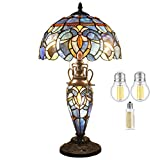 Tiffany Style Lamp (3LED Bulb Included) Stained Glass Bedside Table Night Light Antique Base W12H22 Inch Blue Purple Cloud Reading Lampshade S558 WERFACTORY LAMPS Lover Living Room Bedroom Office Desk