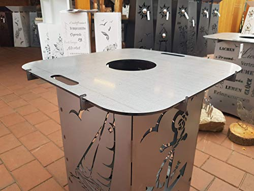 Grillplatte ca 60 x 60 cm inkl. Halterung für Feuerkörbe aus unserem Sortiment Feuerplatte Grillabend Lagerfeuer