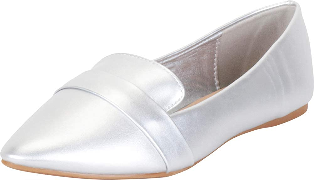 Cambridge Select Women's Classic Slip-On Pointed Toe Flat Loafer
