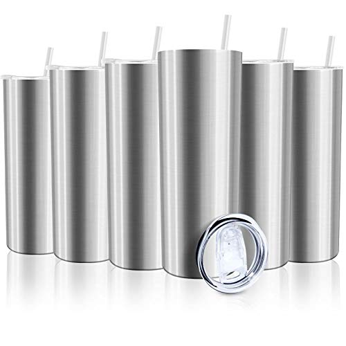 XccMe 30 oz Skinny Stainless Steel Tumbler,6 Pack Double Wall Slim Insulated Tumbler with Lid, Skinny Cups with Straw, for Travel Mug, Coffee, Tea, Beverages(Silver 6)