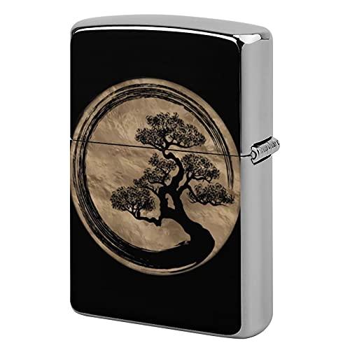 Carcasa para encendedor de bolsillo unisex, personalizable, caja de encendedor de metal, ideal para cigarrillos, velas de cigarrillos, velas Enso Zen Circle y árbol de bonsái, dorado
