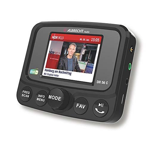 Albrecht DR56 C Digitalradio-Tuner mit Farbdisplay, 27156, zum Aufrüsten für Autoradios, FM-Transmitter für DAB+ Sender und Bluetooth-Verbindung vom Smartphone zum Radio