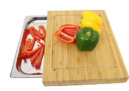 Antik 2000 Tabla de cortar de bambú prémium con bandeja recogedora, utensilio de cocina grande, de bambú con recipiente de acero inoxidable integrado, ancho: 35,5 L: 27,5 T: 4 cm