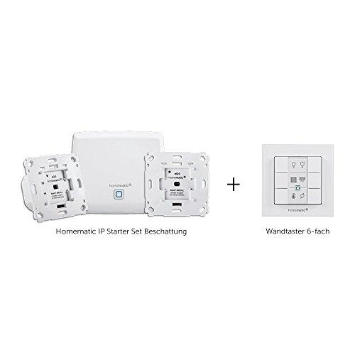 Homematic IP Smart Home Starter Set Beschattung + Wandtaster, intelligente Steuerung von Rollläden und Markisen, auch per kostenloser App