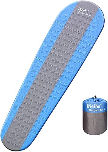 iNeibo Luftmatratze selbstaufblasende Isomatte für Camping, Strand und Outdoor mit integrierter Pumpe. Größe 186x56x4cm Blau Grau