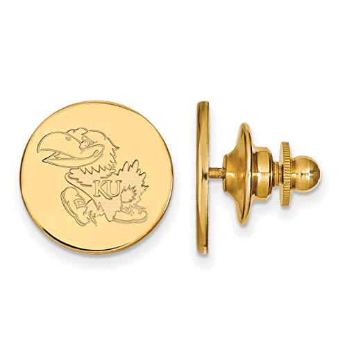 University of Kansas Jayhawks Left Walking School Mascot Lapel Pin in Gold Plated Sterling Silver 15x15mm