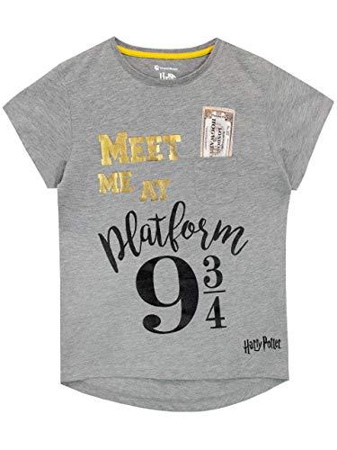 HARRY POTTER Camiseta para Niñas Plataforma 9 y 3/4 Gris 12-13 Años