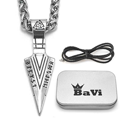 BaviPower Runic Odin's Gungnir Spear Head Pendant with Keel Chain Necklace  316L Stainless Steel  Nordic Scandinavian Viking Men Jewelry (28)