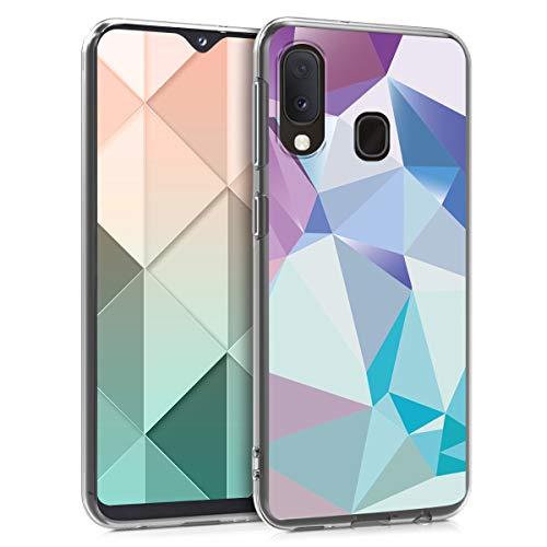kwmobile Hülle kompatibel mit Samsung Galaxy A20e - Handyhülle - Handy Hülle Dreiecke Asymmetrie Hellblau Rosa Blau