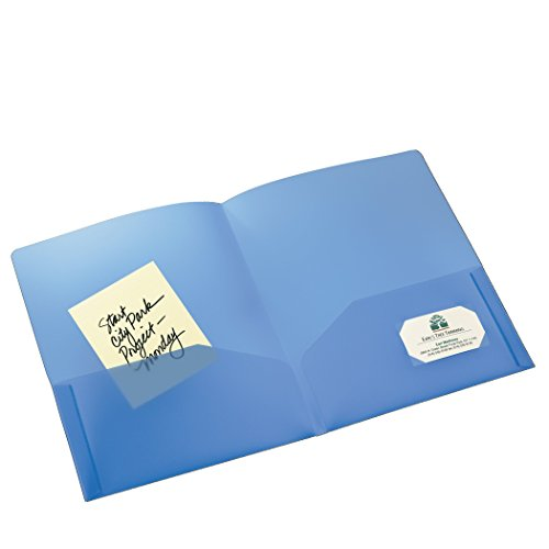 Avery Translucent Two Pocket Folder, Water Resistant, Holds up to 20 Sheets, 1 Blue Folder (47811)