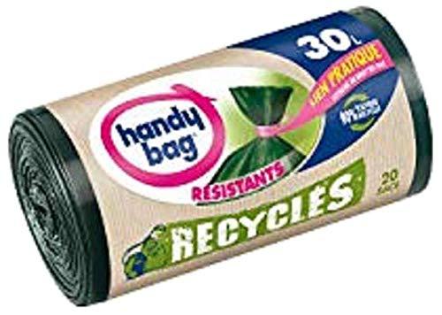 Handy Bag 20 Sacs Poubelle 30 L, Lien Pratique, Recycles, Resistant, Anti-Fuites, 50 x 70 cm, Vert Fonce, Opaque