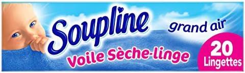 SOUPLINE - Voiles Sèche-Linge Adoucissants Grand Air - Parfument agréablement le Linge - Lingettes à Disposer dans le...