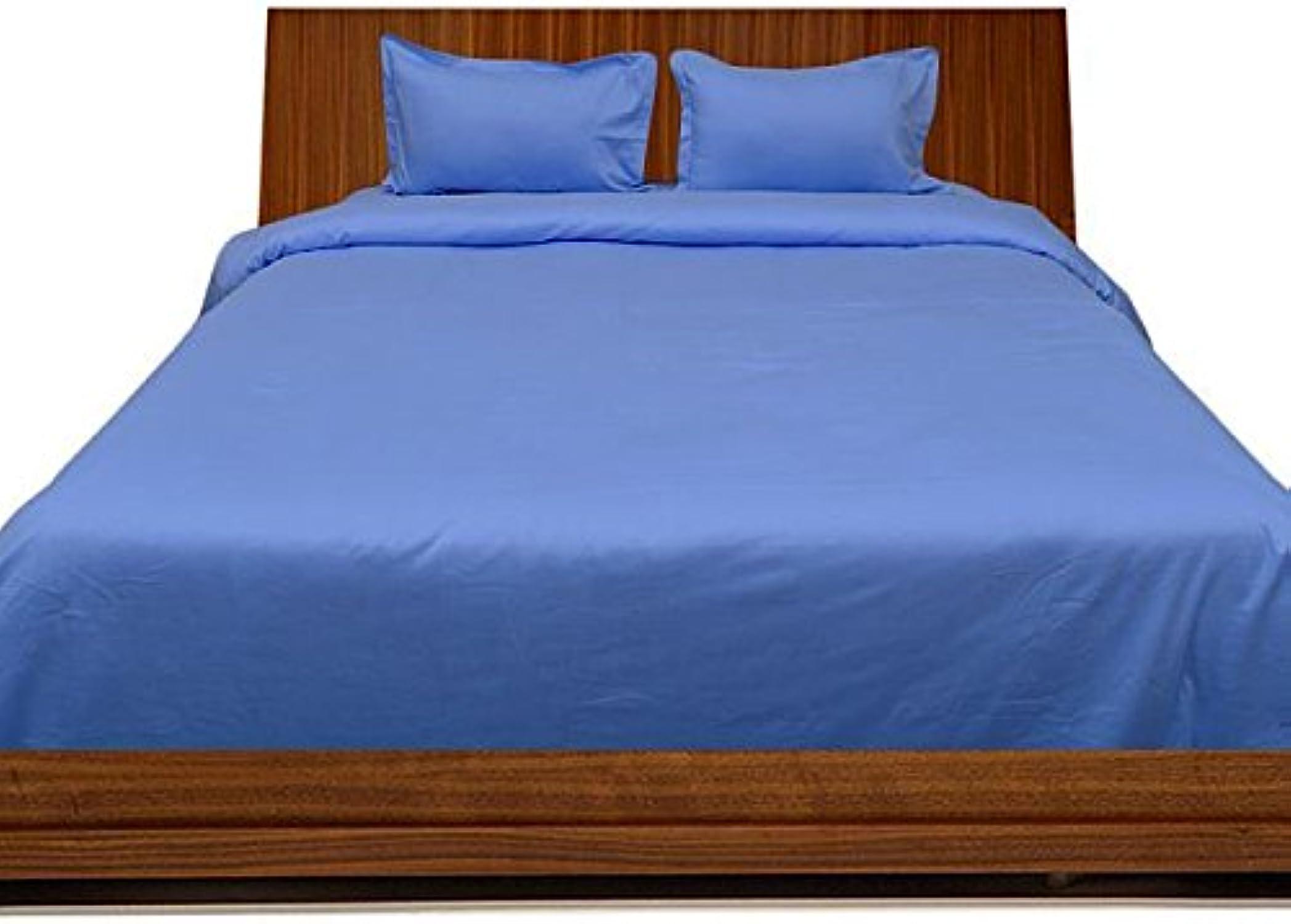 Scala Parure de lit en Coton égypcravaten 350Fils 66cm Poche Profonde de Feuille avec Une extrême Taie d'oreiller UK Double Bleu Ciel Solide 100% Coton 350tc