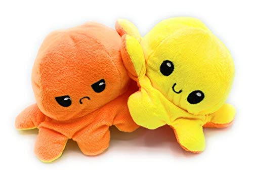 CLEMARS Peluche de Felpa Pulpo Reversible, Pulpo de Doble Cara, una Cara Sonriente y la Otra Cara Triste, para Expresar Tus propias emociones. (Amarillo Naranja)