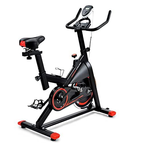 WZFANJIJ Cyclette, Cyclette da Interno, Comodo Cuscino del Sedile, Manubrio Multi-Impugnatura, volano Pesante,Red