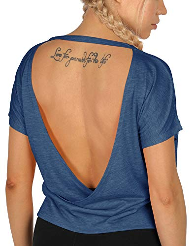 icyzone Camisetas de entrenamiento de espalda abierta para mujer – Camisetas atléticas de manga corta, camisetas de yoga sin espalda, camisas de gimnasio - Azul - Medium