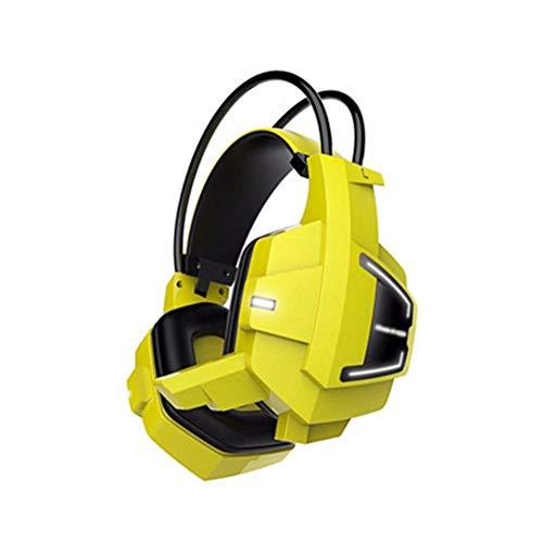 FMC Elettronica Cuffia E-Sport Il LED PC Gaming Headset Potente subwoofer USB Cuffie Stereo Doppia interfaccia Plug (Colore: Giallo)