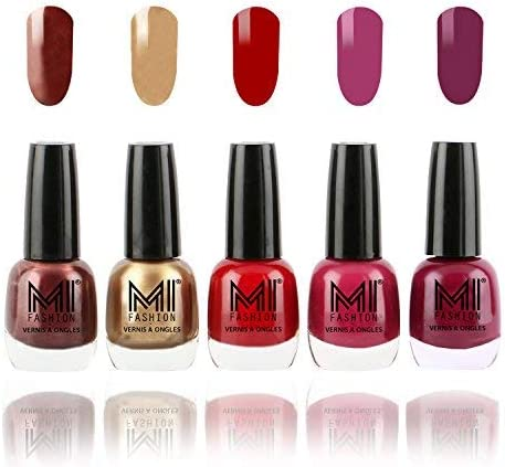 MI Fashion® Bold and Beautiful Combo of 5 Nail Polish- Shimmer Coffee, Delightfully Golden, Daring Red, Pucker Up Plum and Wonder Wine-12 ml each product image
