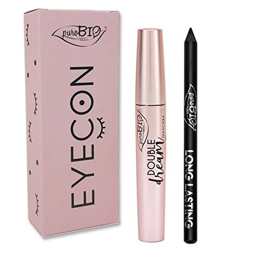 PuroBio Cosmetics Cofanetto Mascara Double Dream e Matita Occhi Nero Long Lasting Eyecon Regalo Donna