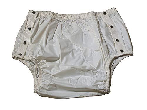 Windelhose Gummihose PVC für Erwachsene - Knöpfer Weiß - Schwedenhose Gummiwindel (M)