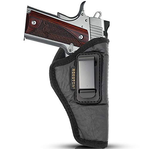 "IWB Gun Holster by Houston - ECO Leather Concealed Carry Soft Material | Suede Interior for Maximum Protection | FITS 1911 4"" & Clones, GLK 48, Shield EZ 380, Browning HP .9 & 380(Right) (CHP-57-RH)"