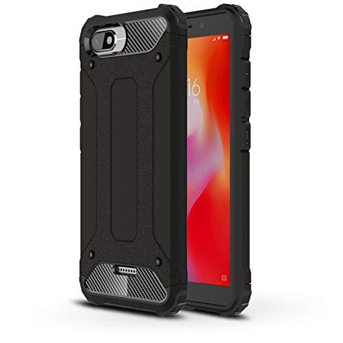 LXHGrowH Funda Xiaomi Redmi 6A, Fundas 2in1 Dual Layer Anti-Shock 360° Full Body Protección TPU Silicona Gel Bumper y Duro PC Armadura Carcasa para Xiaomi Redmi 6A, Negro
