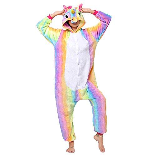 Anbelarui Tier Skelett Pinguin Dinosaurier Panda Einhorn Kostüm Damen Herren Pyjama Jumpsuit Nachtwäsche Halloween Karneval Fasching Cosplay Kleidung S/M/L/XL (M, Regenbogen Einhorn)