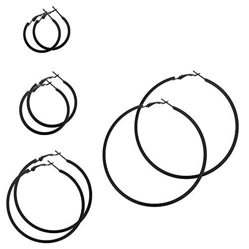 SoulCats® 1 Paar Creolen mit eckigem Profil in schwarz, Größe:Ø 6 cm