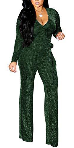 LightlyKiss Women's Sexy Deep V-Neck Jumpsuits Long Sleeve High Waist Sparkly Clubwear Loose Pants with Belt Green