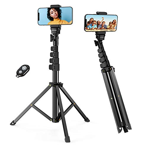 Phone Tripod,LETSCOM 65-inch Extendable Selfie Stick Tripod Stand with Phone Holder,Remote Shutter for Video Recording/Photography/Live Streaming,Compatible with iPhone & Android Phone & Camera