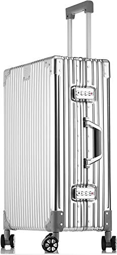 STYLISHJAPAN スーツケース アルミ合金 ボディ フレーム 軽量 耐衝撃 ビジネス 出張 (5色 2サイズ対応) (Lサイズ 70L 7泊?8泊) シルバー