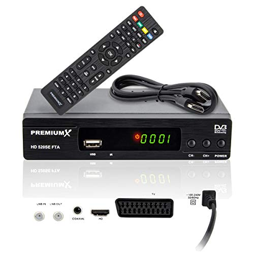 PremiumX HD 520SE FTA Digital SAT TV Receiver DVB-S2 FullHD HDTV Satelliten-Receiver HDMI SCART USB Multimedia-Player, Astra Hotbird vorprogrammiert