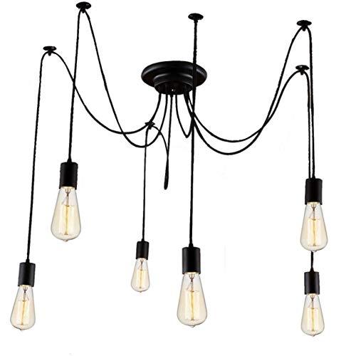 Vintage Hänge Pendelleuchten Hängelampe 6X E27 Lichter DIY Retro Industrielle Deckenleuchte höhenverstellbar Hängeleuchte mit 3-adrigem Textilkabel DIY Lampe