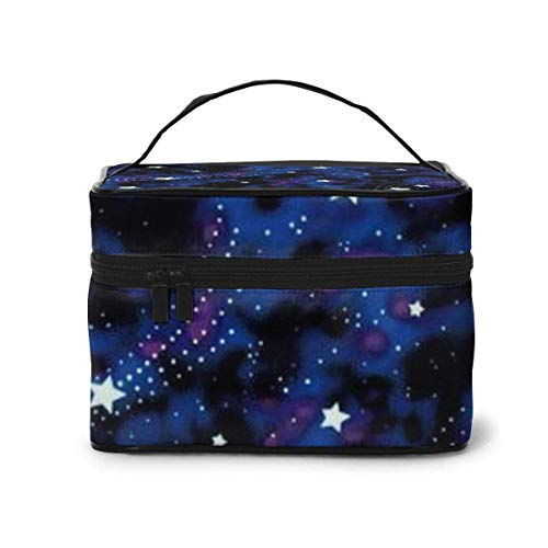 Vanity et Trousses à Maquillage Galaxy Stars Magic Glow in The Dark Travel Cosmetic Case Organizer Portable Artist Storage Bag with,Built-in Pocket,Multifunction Case Toiletry Bags for Women Travel D