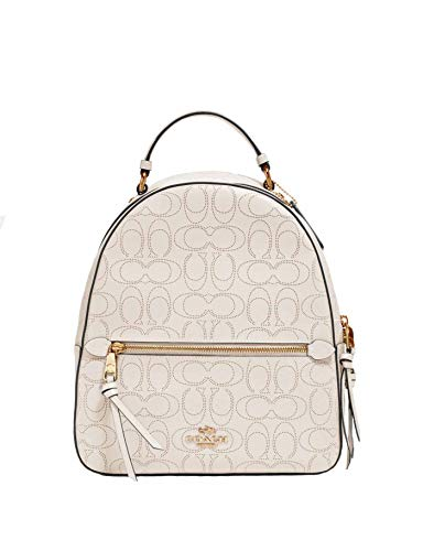 Coach Jordyn Leather Backpack in Signature Embossed Chalk Leather - #2322