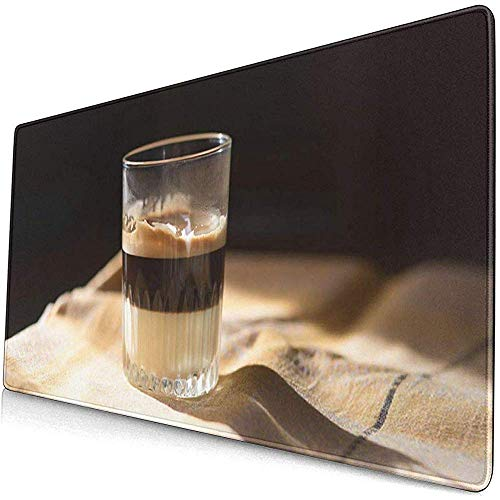 Gaming Extended Mouse Pads mit Rutschfester Gummibasis Cappuccino Kaffee Kondensmilch in Glas Cafe Bombon Aroma 30X80 cm