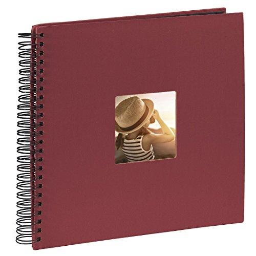Hama Fotoalbum Jumbo 36x32 cm (Spiral-Album mit 50 schwarzen Seiten, Fotobuch mit Pergamin-Trennblättern, Album zum Einkleben und Selbstgestalten) bordeaux