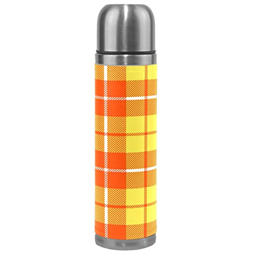 Plaid Thermos Vacuum Insulated Bottle,Orange Yellow Tartan Square Pattern Stainless Steel Water Bottle,Checkered BPA Free Coffee Travel Mug Cup Genuine Leather Cover 17 Oz Best Christmas Gifts