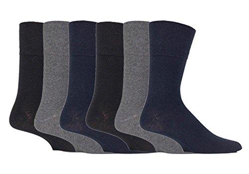 SockShop RG52 Lot de 6 paires de chaussettes en coton pour homme Noir/gris/bleu marine Pointure 39-45