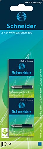 Schneider Rollerpatrone Universal 852 (löschbar, für Patronenroller Breeze, Base Senso/Ball und ID Duo) 2 x 5 Stück Tinte: königsblau