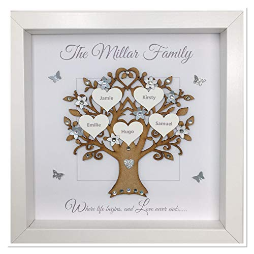 Personalised Family Tree 3D Box Picture Frame Grey & Silver Glitter or 12 Colours To Choose - Contemporary