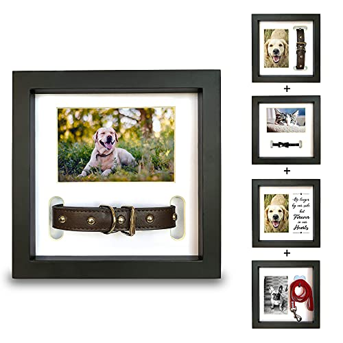 PAWCEPTIVE Pet Memorial Shadow Box Picture Frame - 3 Display Options for Dog or Cat Loss - Collar Mount, Memory Hanger or Loving Remembrance Message - Sympathy Keepsake Photo Gift for a Grieving Owner