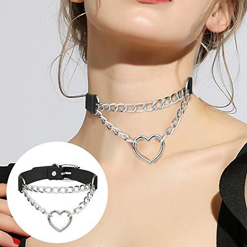 Comius Sharp Collar de Gargantilla, 4 Piezas Gótico Gargantillas de Cuero Collar Gargantilla de Estilo Punk Collar Juego de Gargantilla de Cuero PU