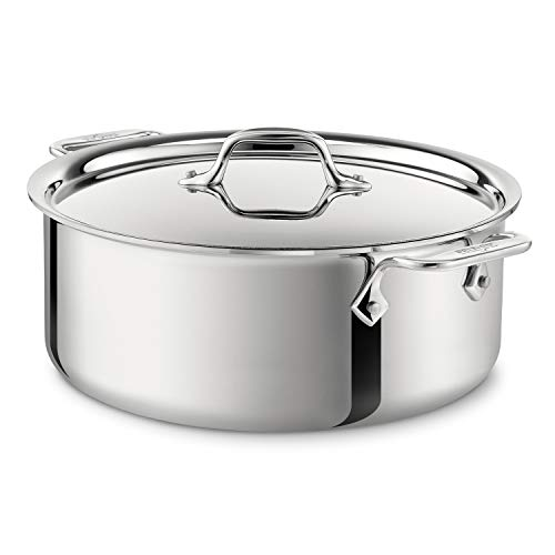 All-Clad 4506 Stainless Steel Tri-Ply Bonded Dishwasher Safe Stockpot with Lid / Cookware, 6-Quart, Silver