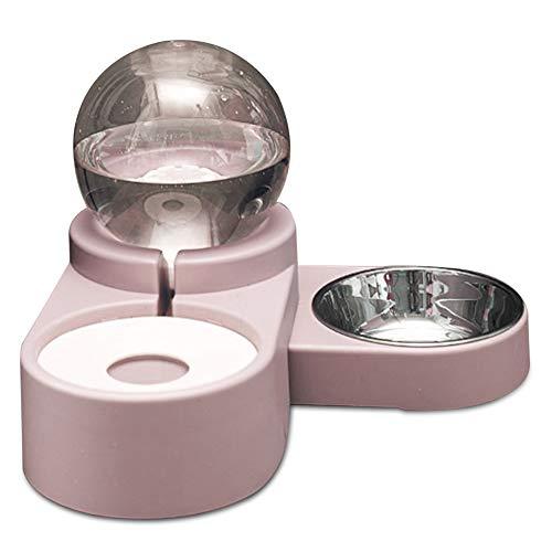 Fidofox Feed&Font Comedero y Bebedero para Perros y Gatos. Comedero Doble Bebedero automático. (Rosa)