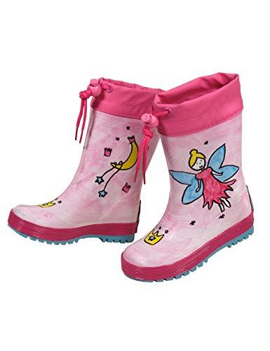 maximo Kindergummistiefel, Babygummistiefel, Regenstiefel, Dark pink, Motiv Fairy, Fee, handbemalt, jeder Stiefel EIN Unikat, Stulpe, Reflex 3M (22 EU)