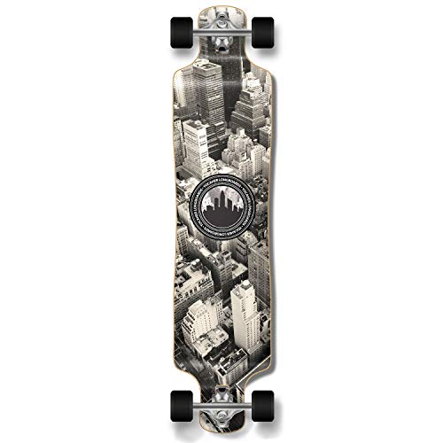 Yocaher Graphic Series Complete Lowrider Skateboards Longboard w/Black Widow Premium 80A Grip Tape Aluminum Truck ABEC7 Bearing 70mm Skateboard Wheels (Complete - Lowrider - 05 - New York)